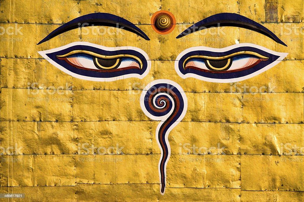 Buddha's Eyes Nepal stock photo