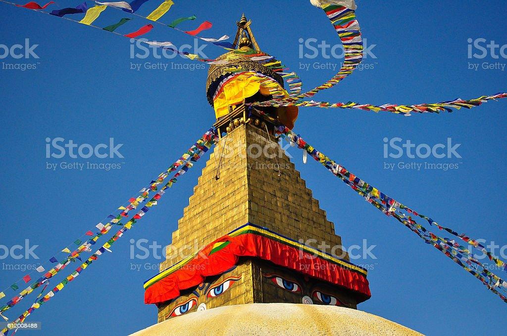 Buddha's Eyes on Bodnath Stupa, Kathmandu, Nepal stock photo