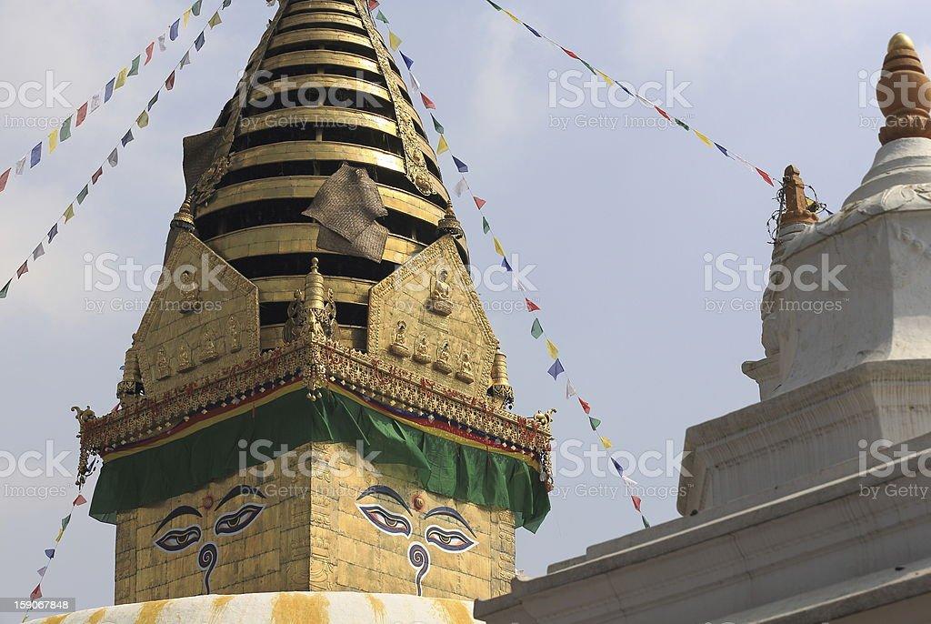 Buddha's eyes on the Swayambhunath Stupa. royalty-free stock photo