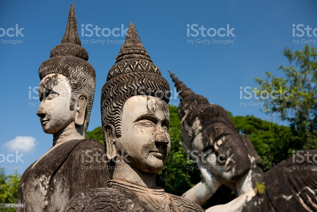 Buddhas in Buddha Park, Vientaine stock photo