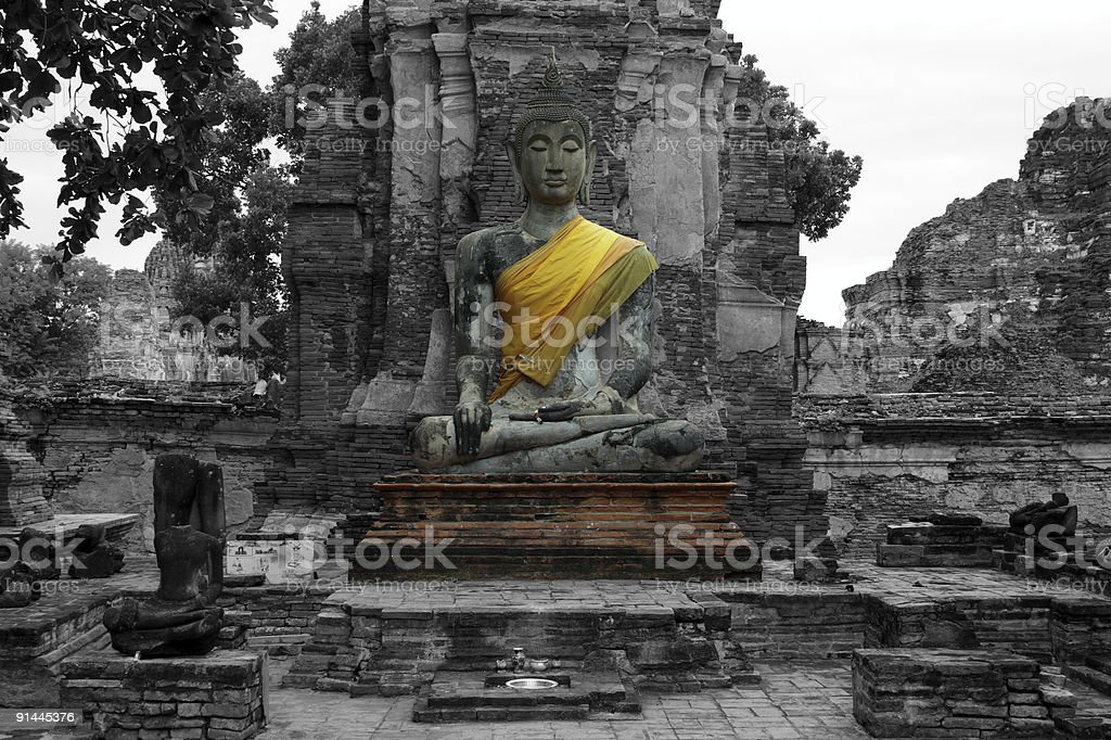 Buddha's statue at Wat Mahathat stock photo
