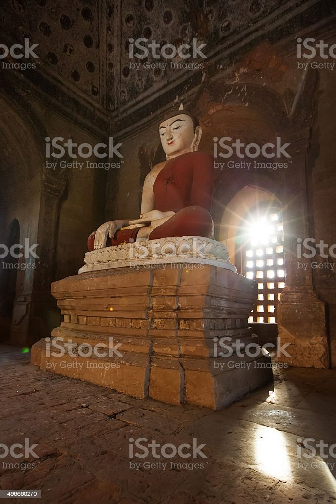 Buddha's statue in a Bagan pagoda stock photo