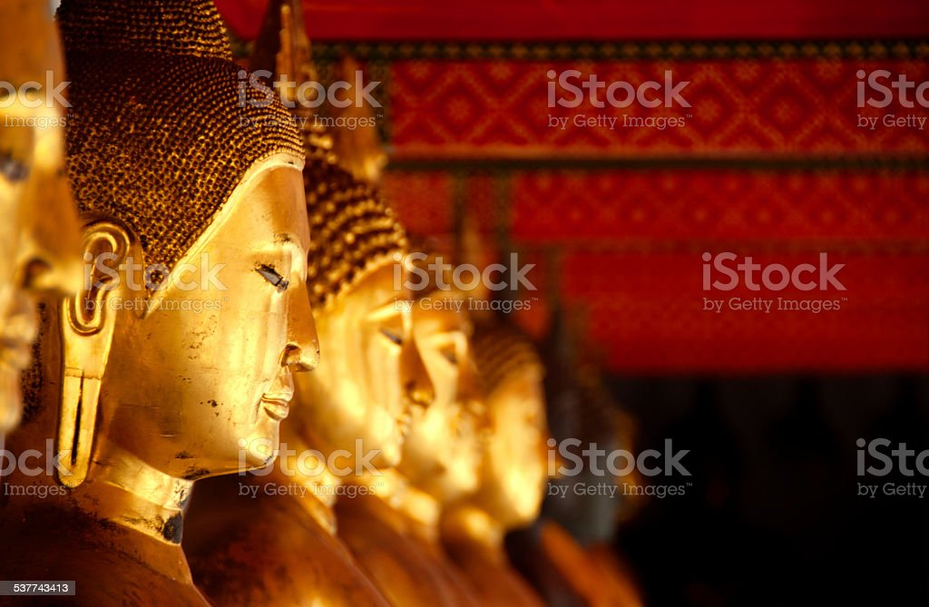 Buddhas, Wat Pho, Bangkok stock photo