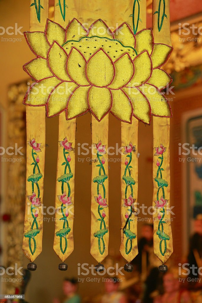 Buddhism Banners on Chinese temple 1 royalty-free stock photo