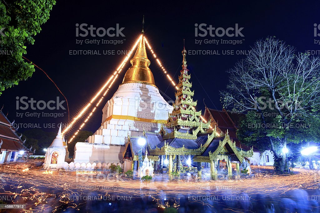 Buddhism Ceremony at temple ruin on Magha Puja Day royalty-free stock photo