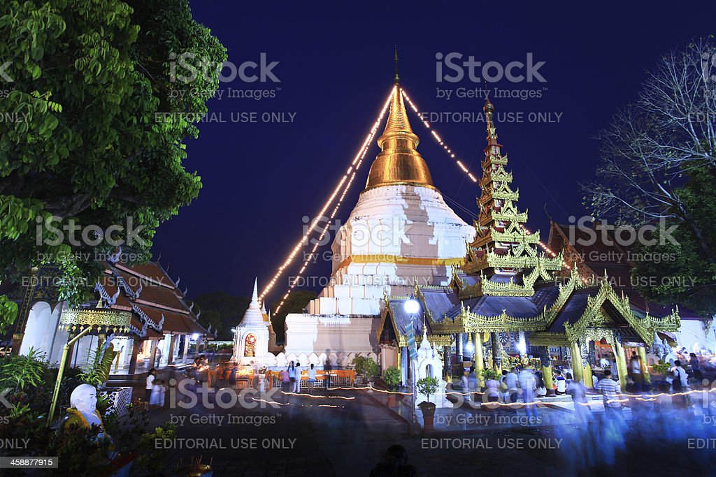 Buddhism Ceremony at temple ruin on Magha Puja Day stock photo