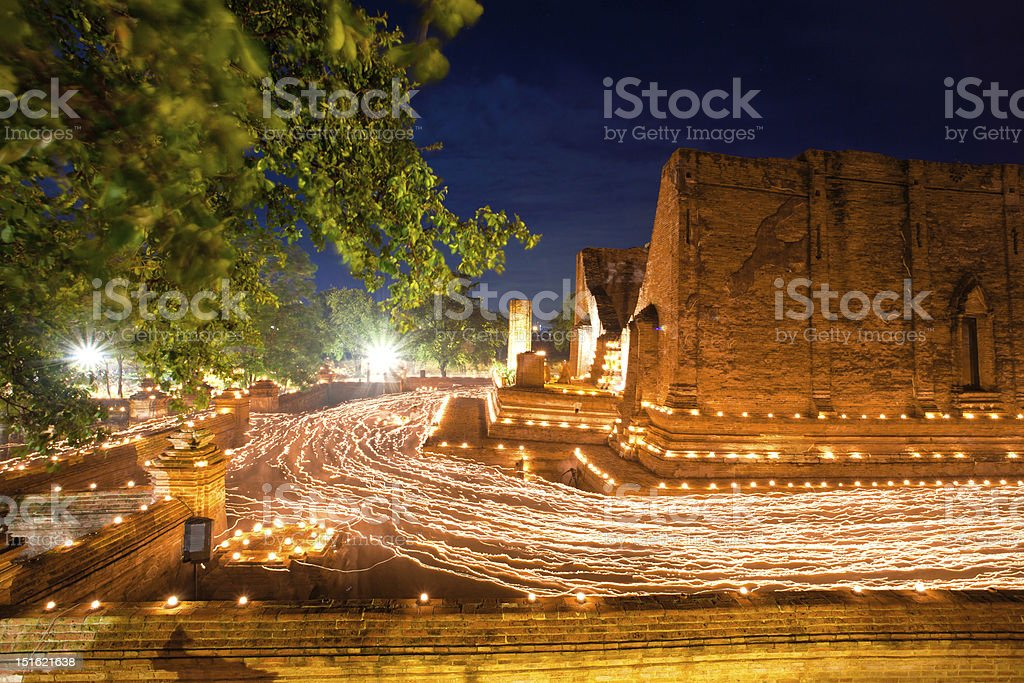 Buddhism Ceremony at temple ruin stock photo