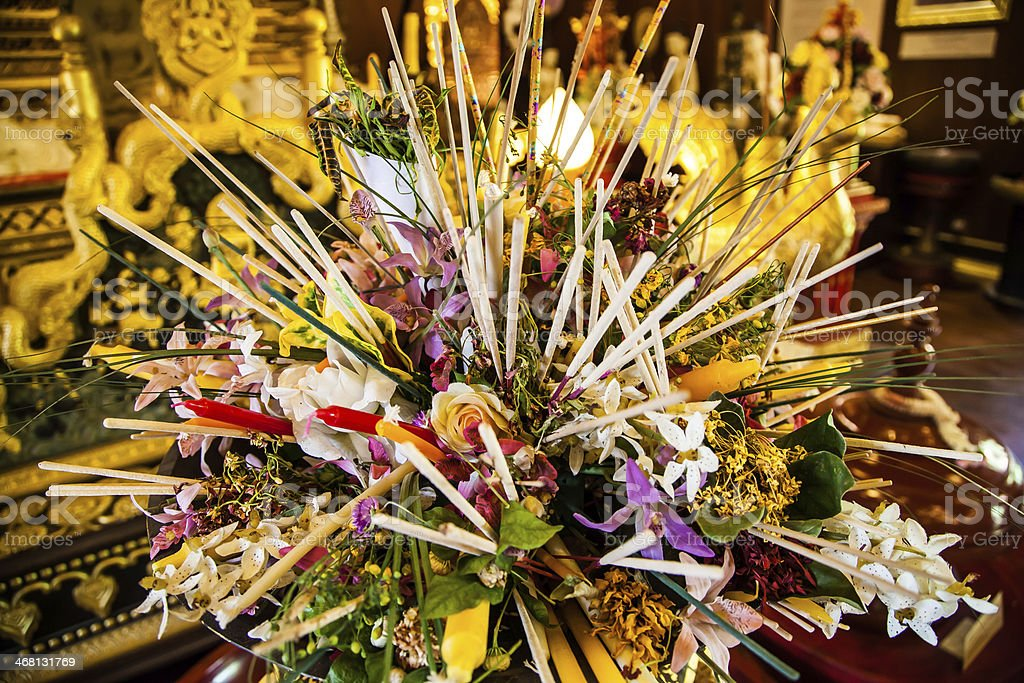 Buddhism flower arrangement in the temple stock photo
