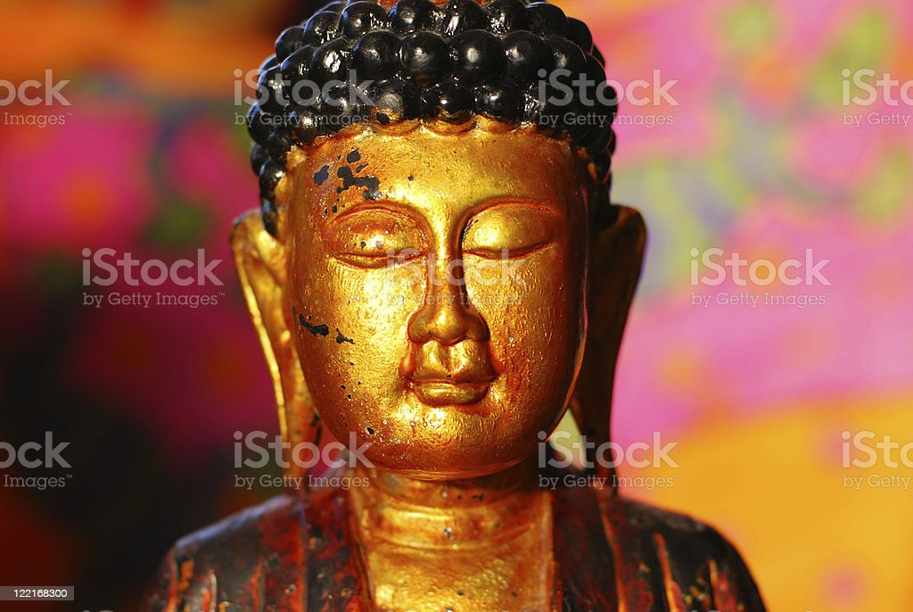Buddhism: Golden Buddha Head Statue royalty-free stock photo