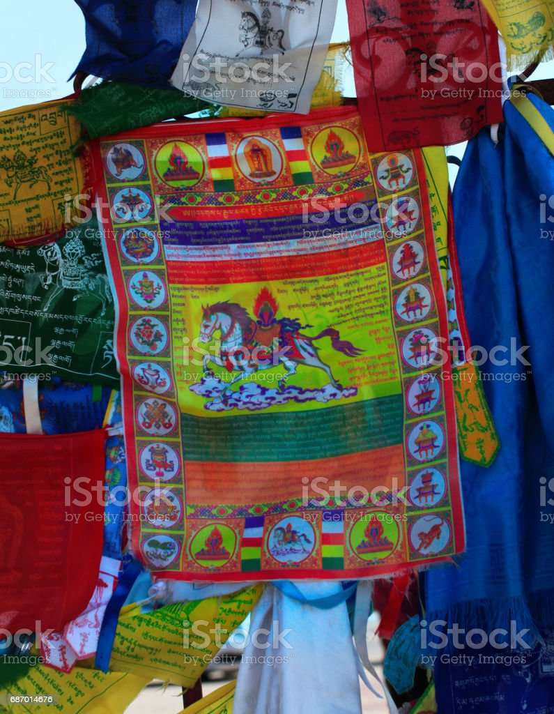 Buddhism prayer flags lungta close up stock photo