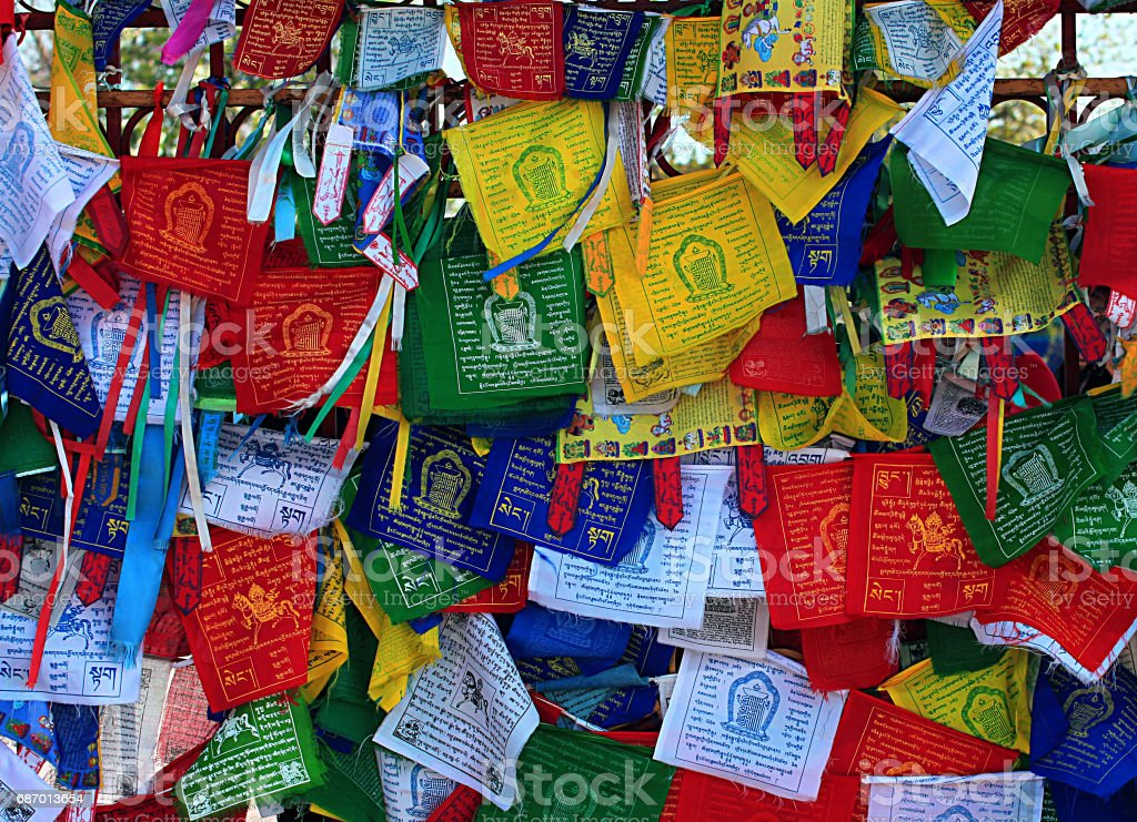Buddhism prayer flags lungta stock photo