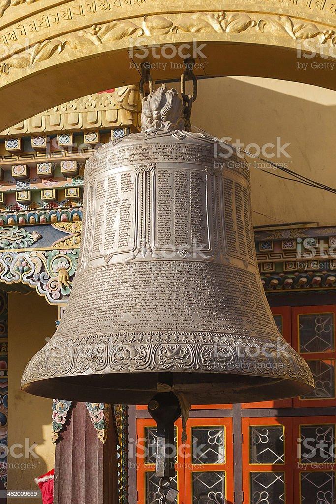 Buddhist bell in Boudhanath, Kathmandu stock photo