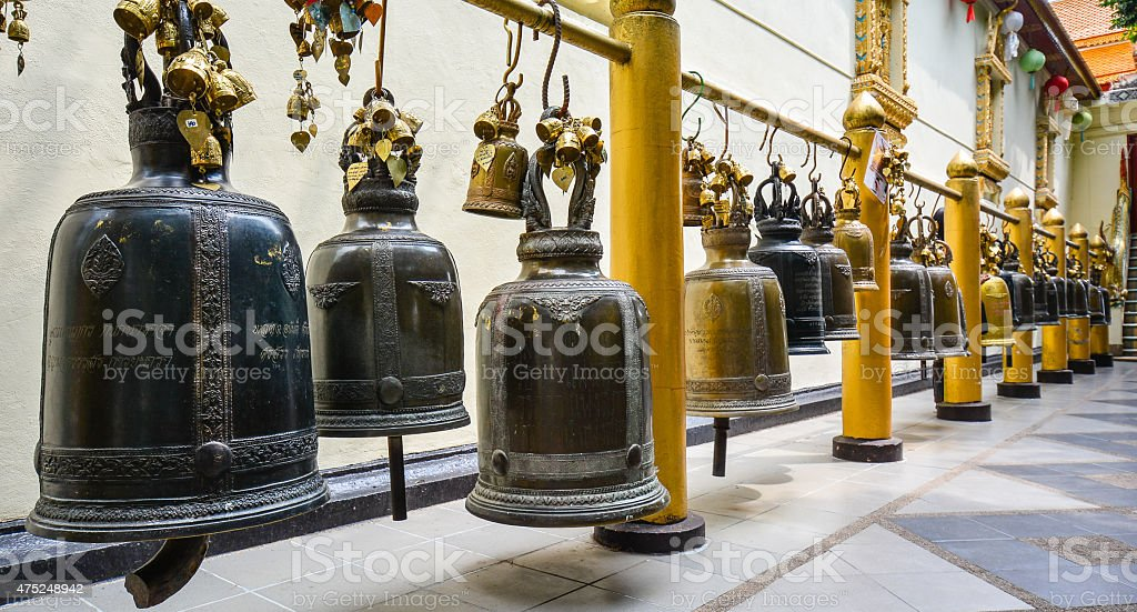 Buddhist Bells in Wat Phra That Doi Suthep - Thailand stock photo