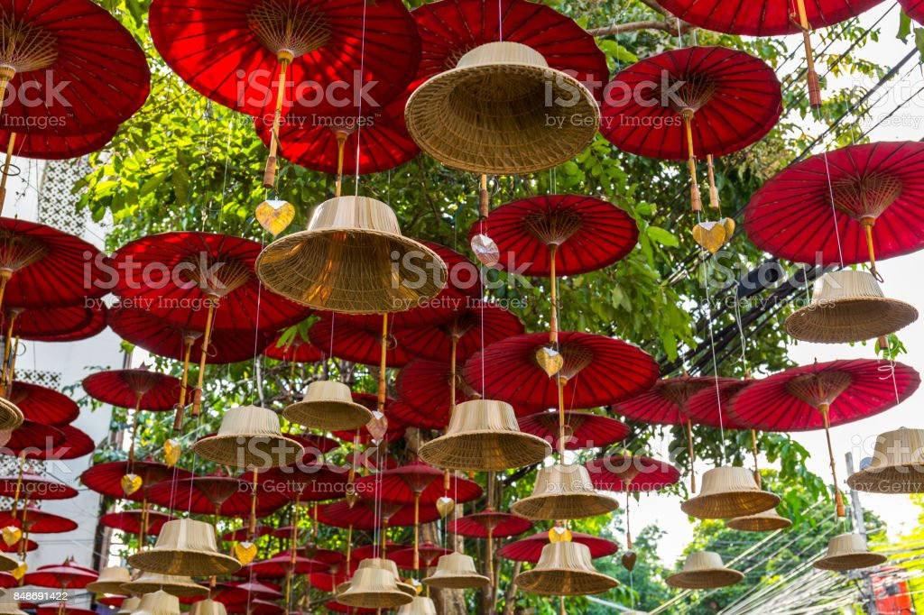 Buddhist bells street art decoration in Chiang Mai, Thailand stock photo