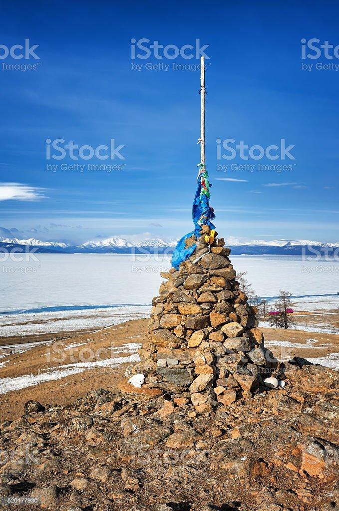 Buddhist cairn of clastic rocks stock photo