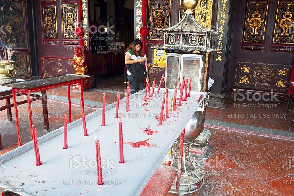 Buddhist candles stock photo