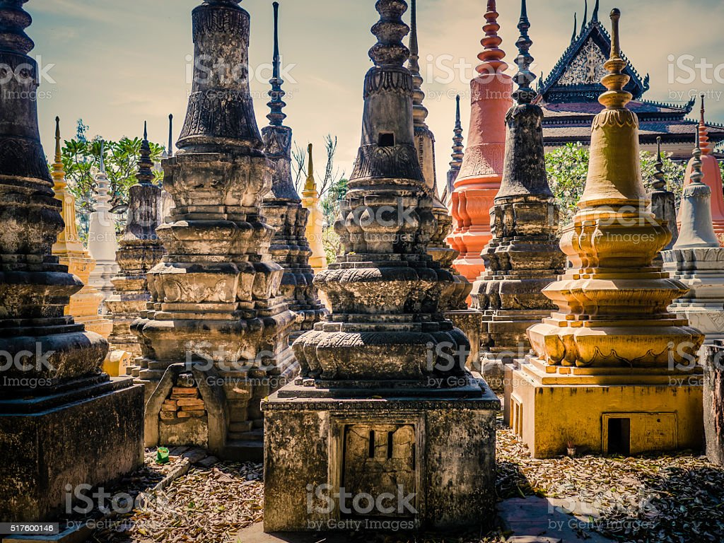 Buddhist cemetery at Wat Bo old Pagoda Siem reap Cambodia stock photo