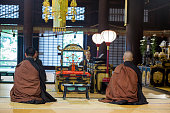 Buddhist ceremony by monks at Hyakumanben Chionji Temple kyoto japan