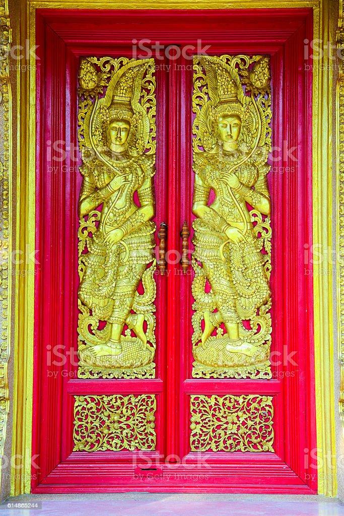 Buddhist church doors stock photo