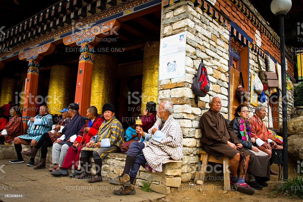 Buddhist devotees of The Memorial Stupa of Thimphu, Bhutan stock photo