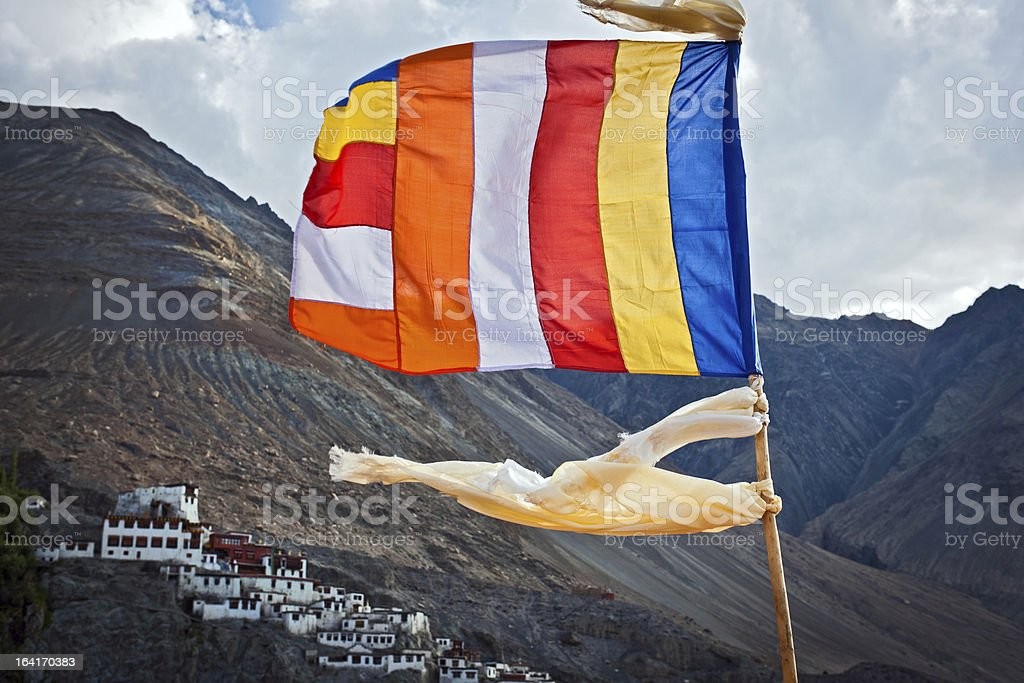 Buddhist Flags and Diskit Gompa in India Asia stock photo