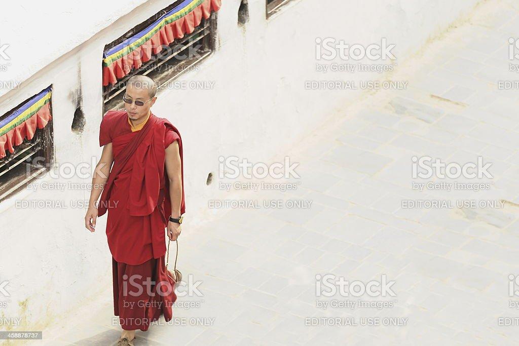 Buddhist lama-priest around the Boudhanath-Bodhnath stupa. Kathmandu-Nepal. 0326 stock photo