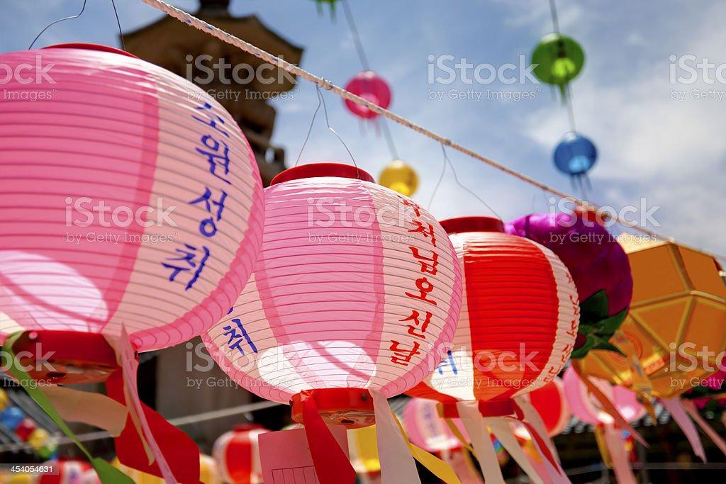 Buddhist lanterns stock photo