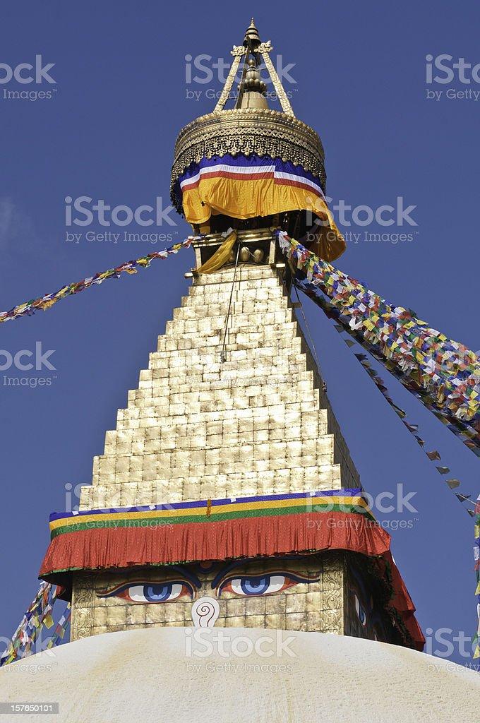 Buddhist mandala stupa shrine colorful prayer flags Bodhnath Kathmandu Nepal stock photo