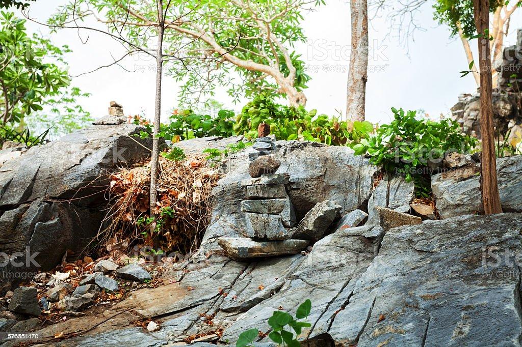 Buddhist meditation stones and garden stock photo