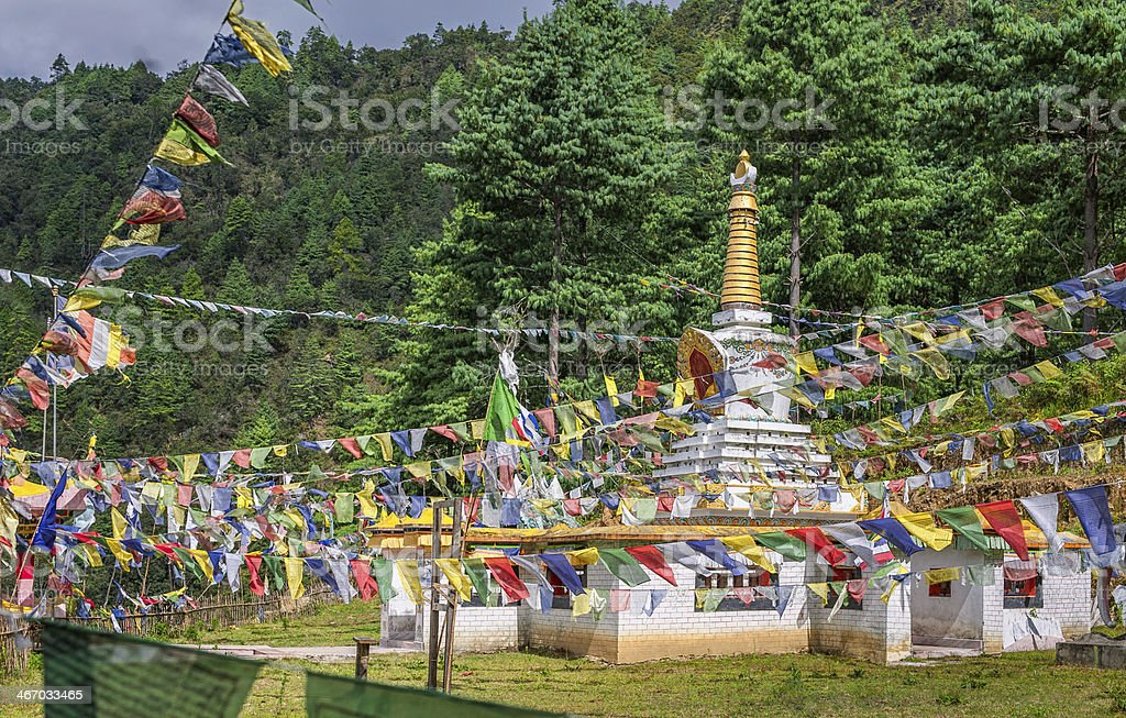 Buddhist memorial site, Tawang, Arunachal Pradesh, India. stock photo