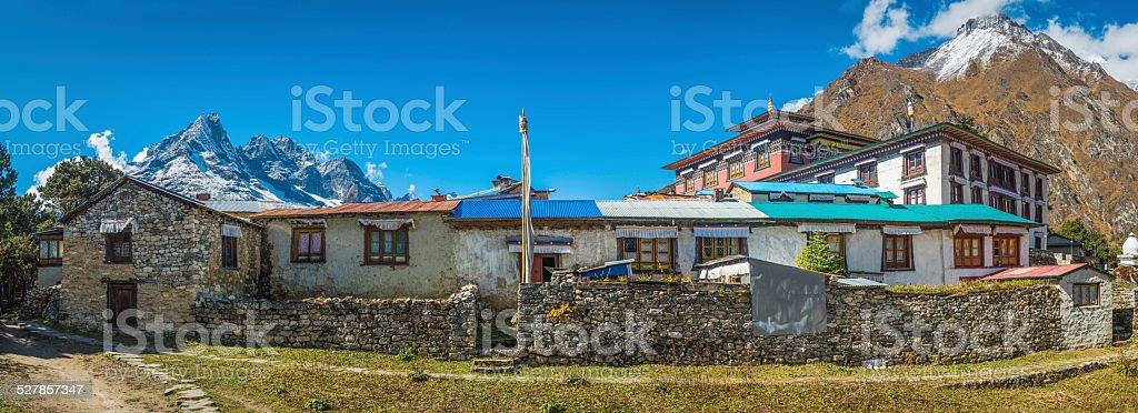 Buddhist monastery at Tengboche high in Himalaya mountains Nepal panorama stock photo