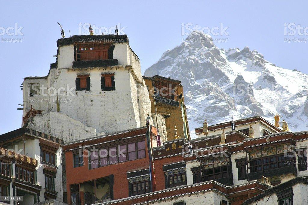 Buddhist monastery in the Himalayas (Ladakh, Kashmir, India) royalty-free stock photo