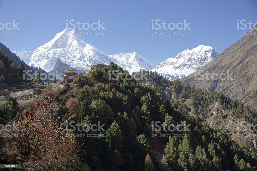 Buddhist monastery on the background of snowy peaks royalty-free stock photo