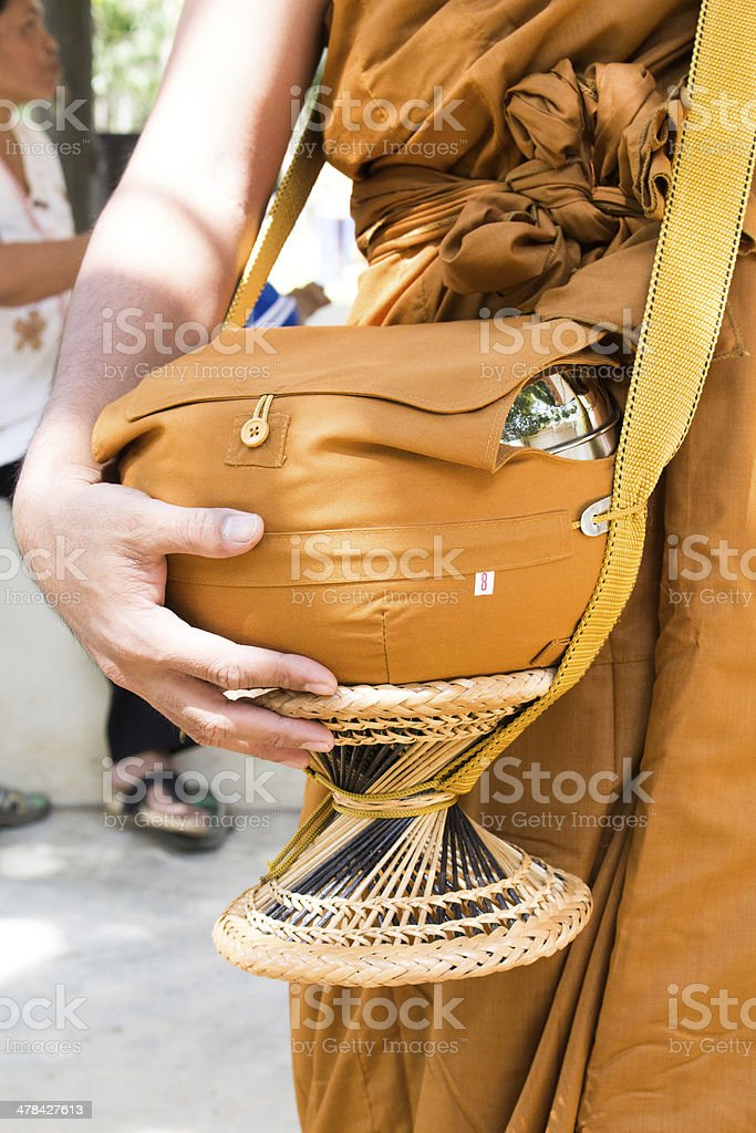 Buddhist monk alms-bowl in thailand, makha bucha day, visakha bu stock photo
