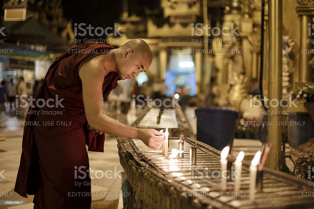 Buddhist monk at Shwedagon pagoda. royalty-free stock photo