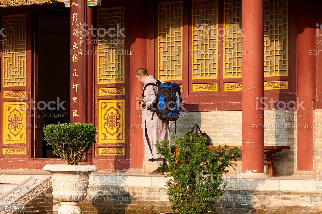 Buddhist monk at the Da Ci'en monastery - Xi'an China stock photo