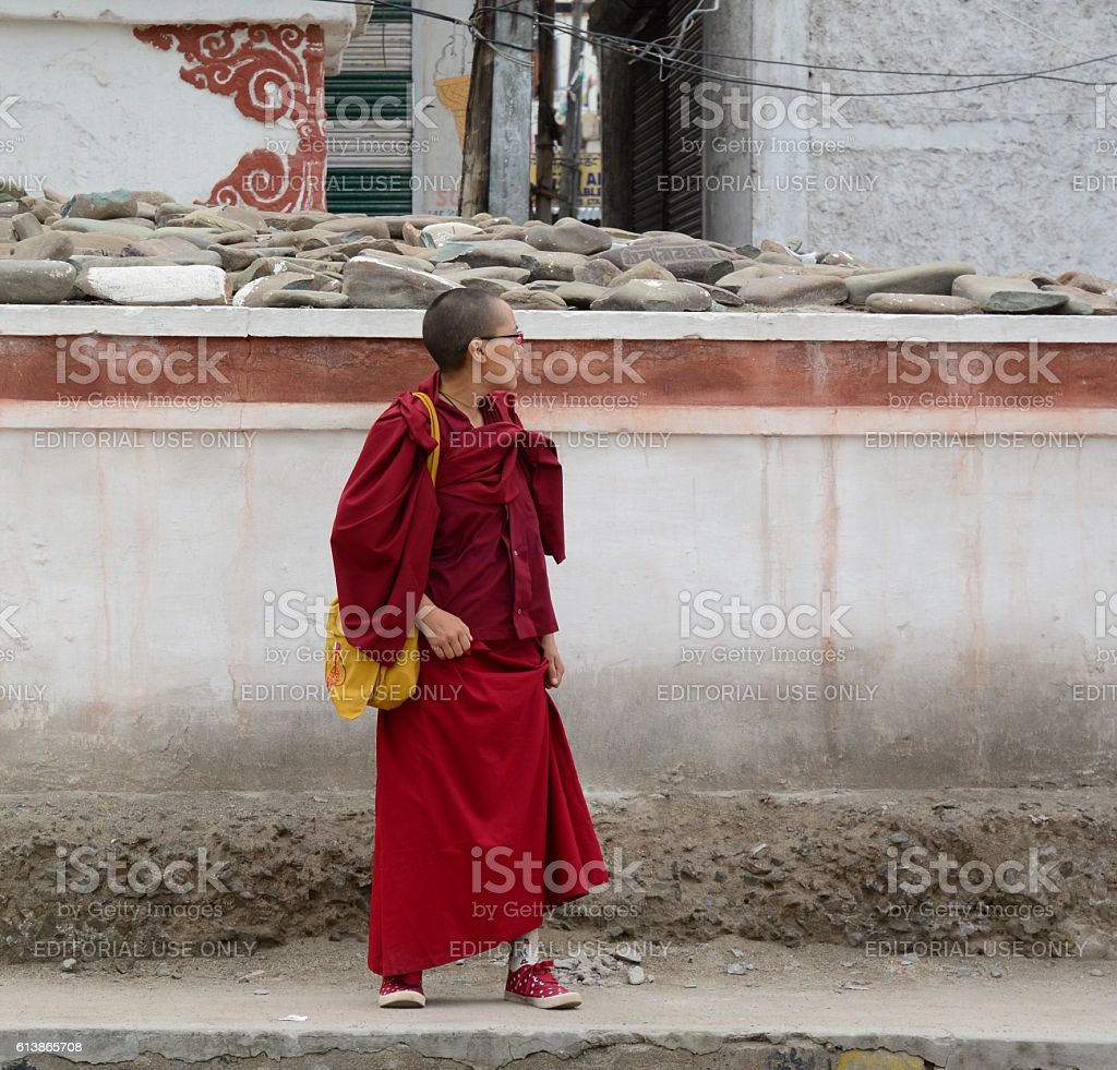 Buddhist monk at the monastery in India stock photo