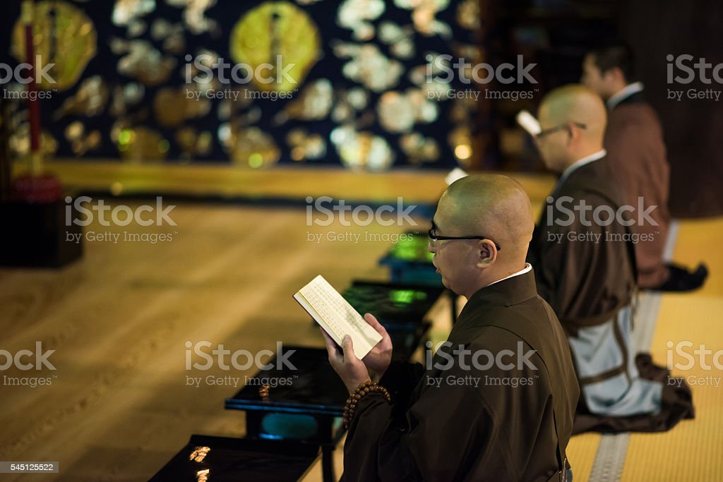 Buddhist Monk ceremony in a temple stock photo