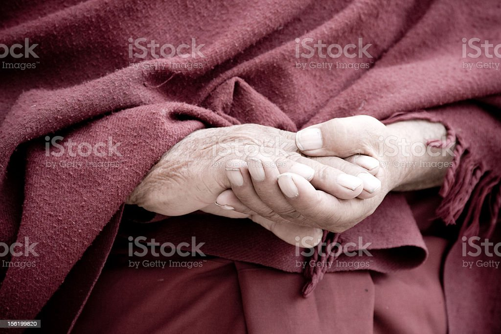 buddhist monk crossed hands royalty-free stock photo