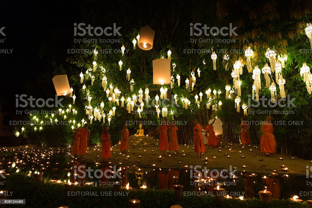 buddhist monk floating hot air balloon in festival stock photo