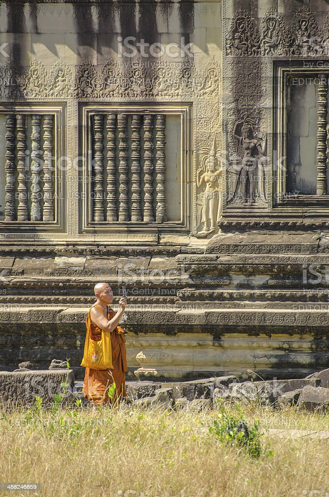 Buddhist monk in Angkor Wat royalty-free stock photo