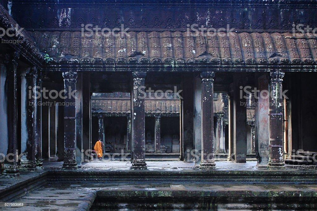 Buddhist monk in Angkor wat stock photo