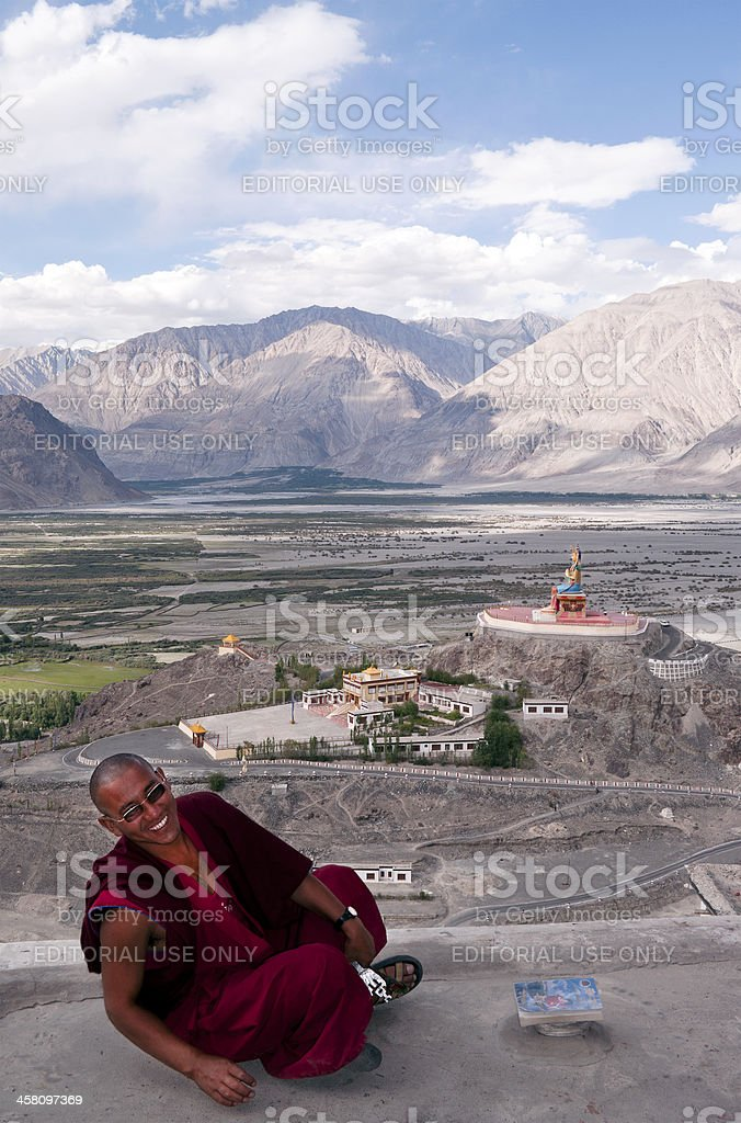 Buddhist Monk in Diskit Monastery Laughing India royalty-free stock photo