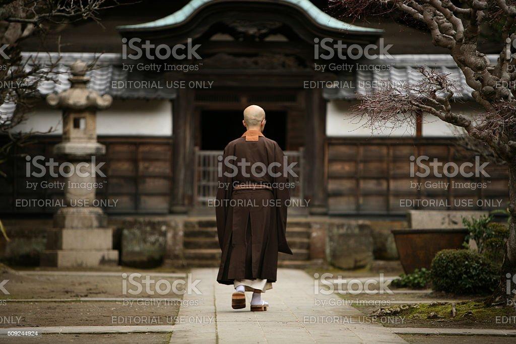 Buddhist monk in Kamakura, Japan. stock photo