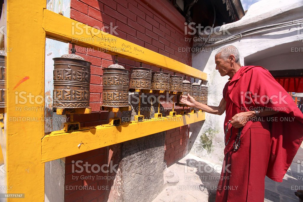 Buddhist monk in Kathmandu, Nepal stock photo