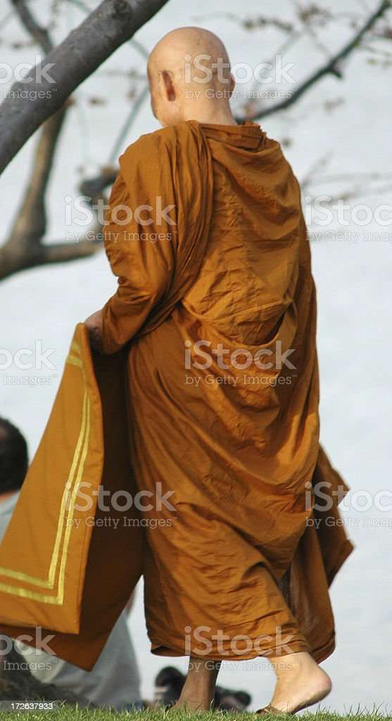 Buddhist Monk in Park royalty-free stock photo