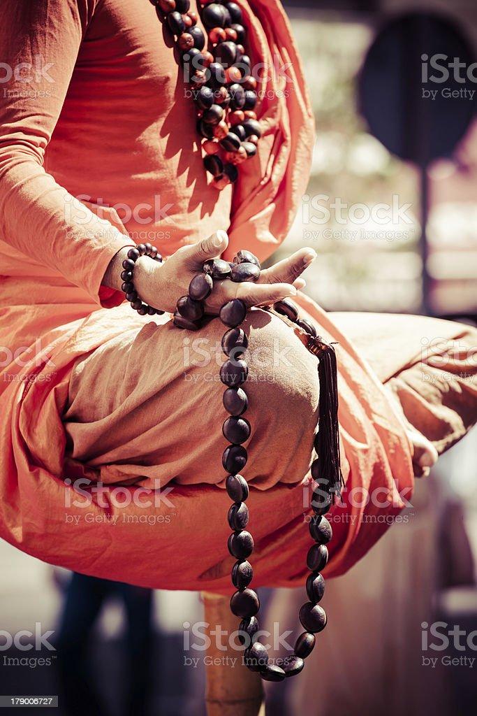 Buddhist monk in praying. royalty-free stock photo