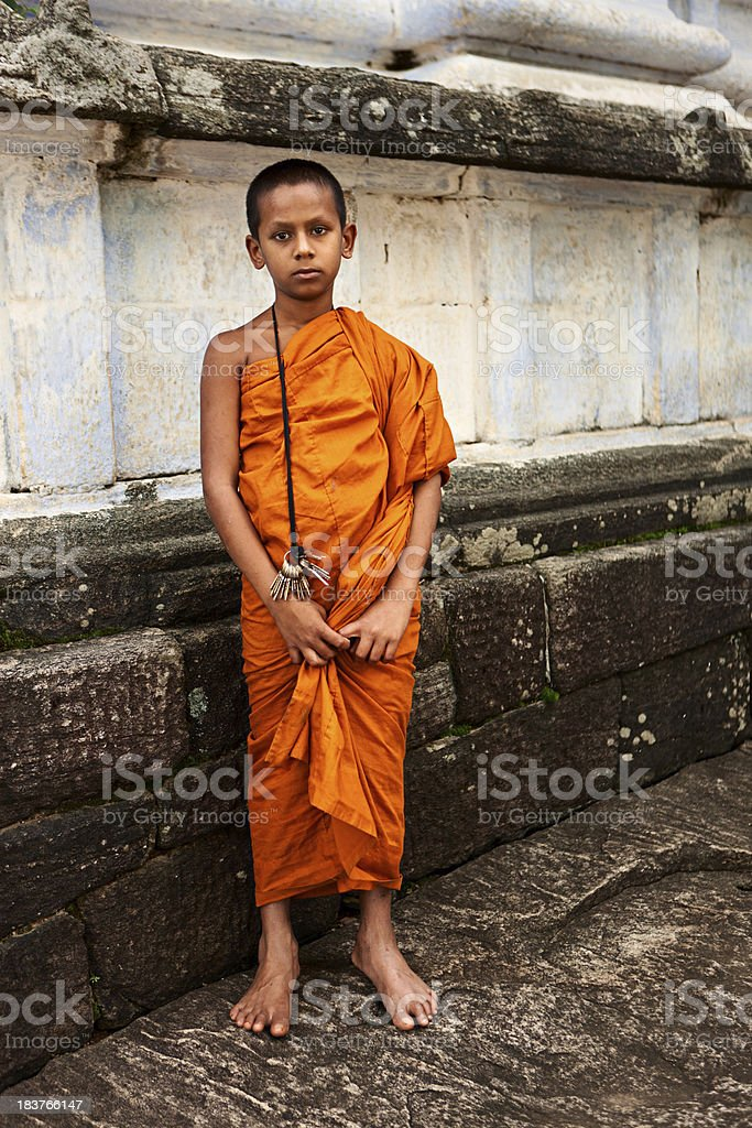 Buddhist monk near Kandy, Sri Lanka royalty-free stock photo