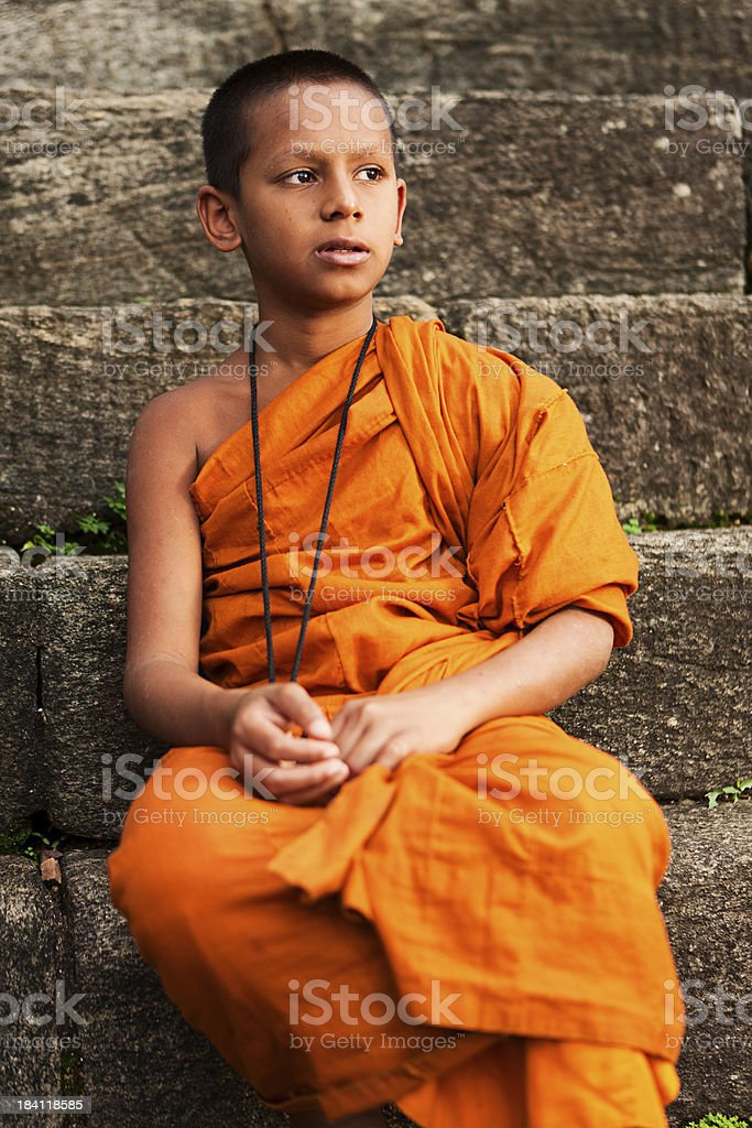 Buddhist monk near Kandy, Sri Lanka royalty-free stock photo