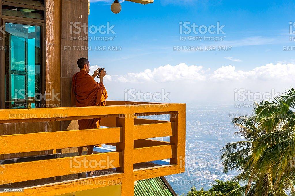 Chiang Mai, Thailand - December 3, 2016 :  Buddhist monk stock photo